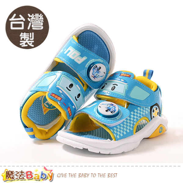 男童鞋 台灣製POLI正版波力款閃燈涼鞋