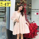 連身裙--甜美方型領喇叭袖蛋糕裙襬露背綁帶兩件式長版上衣(紅.杏L-3L)-U557眼圈熊中大尺碼◎
