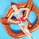 【超取299免運】巧克力點點蝴蝶餅乾造型泳圈-150公分 成人充氣浮圈救生圈加大加厚泳圈