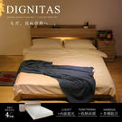 極簡的日系風格,床頭附插座及燈具,4件式包含床頭、床底、床墊、二抽櫃,小預算打造時尚居家