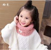 韓國寶寶 秋冬季保暖男女兒童毛線圍脖套頭 純色百搭時尚小孩圍巾