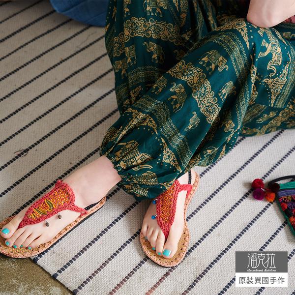 【潘克拉】異國風泰國大象印花半鬆緊束腳燈籠褲 TM995 FREE綠色