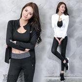 運動跑步專業健身服透氣速干瑜伽服套裝女緊身夏春季三件套