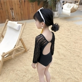 兒童寶寶泳裝公主黑色蕾絲露背度假游泳衣中小童女童防曬連身泳衣 茱莉亞