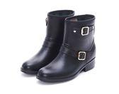 MICHELLE PARK 極致質感雙釦環中筒雨靴-黑