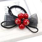 韓版小香風紅珠子髮飾 髮圈 髮束髮繩(紅珠子款)-艾發現