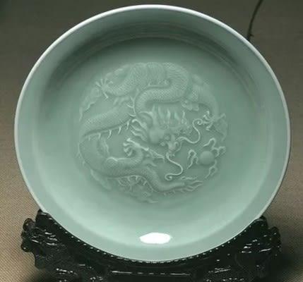 [協貿國際]  青瓷挂盤牡丹龍騰挂盤裝飾 (1入)