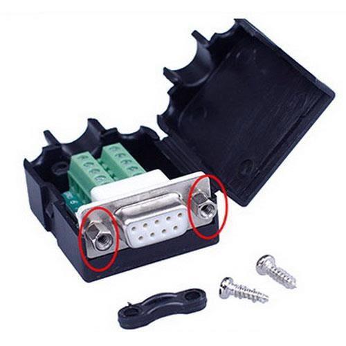 DB9P 母免焊式DIY接頭組合包 (六角螺母)