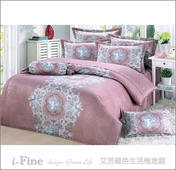 【免運】頂級60支精梳棉 雙人 薄床包(含枕套) 台灣精製 ~巴洛克風華/深粉~ i-Fine艾芳生活