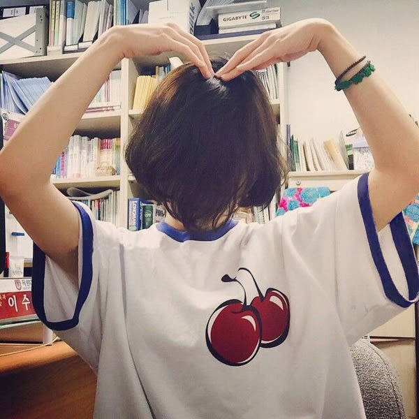 【GZ64】夏季新品韓國ulzzang原宿bf風上衣 簡約櫻桃印花短袖T恤女學生