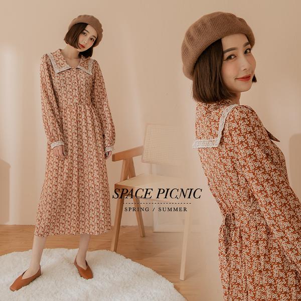 長袖 洋裝 Space Picnic|碎花蕾絲翻領洋裝-2色(預購)【C21073065】