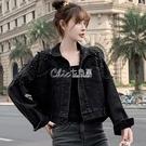 春秋冬款新款牛仔衣外套女學生韓版寬鬆短款小個子釘珠上衣潮