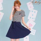 洋裝 條紋拼接別針短袖洋裝-深藍-Ruby s露比午茶