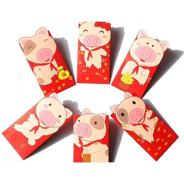 【培菓幸福寵物專營店】寵物豬》造型紅包袋一組6入