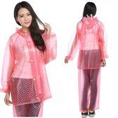 韓國時尚水晶雨衣成人女款男款戶外徒步騎行全身防水雨披套裝加厚 卡布奇诺