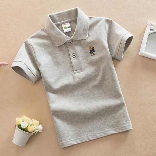 雙11搶購 童裝寶寶 男童t恤短袖 春夏款純棉灰色 兒童T恤 女童體恤演出班服