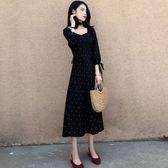 大韓訂製七分袖洋裝文青森林系韓版秋冬連衣裙V領波點長裙