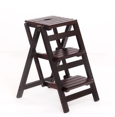 實木家用多功能折疊梯架創意樓梯椅梯凳室內多用單只價【三層折疊梯深胡桃色】