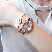 滿?玫瑰金女石英錶休閒女錶時裝錶