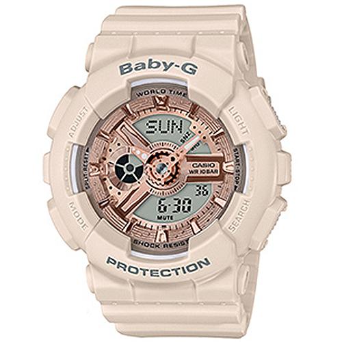 【台南 時代鐘錶 CASIO】Baby-G 宏崑公司貨 BA-110CP-4A 春夏粉色系雙顯機械風格運動腕錶