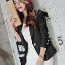 西裝外套 春裝新款韓版修身長袖素色短款小西裝外套女OL時尚女士小西服 交換禮物