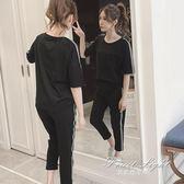 夏季套裝 夏季新款韓版學生大碼寬鬆BF時尚九分褲運動休閒套裝女兩件套 果果輕時尚
