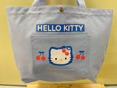 【震撼精品百貨】Hello Kitty 凱蒂貓~Sanrio HELLO KITTY手提袋/肩背包-櫻桃淺藍#01664