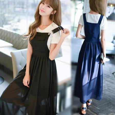 ※現貨 韓風雪紡吊帶連身裙/兩件套/洋裝 S-XL碼【D927417】