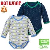 【北投之家】男寶寶長袖包屁衣二件組 日本機能發熱活肩式連身衣 深藍三角   西松屋童裝