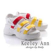 ★2018春夏★Keeley Ann街頭漫步~網布雙色帶厚底休閒涼鞋(黃色) -Ann系列