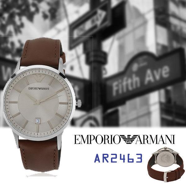 ARMANI亞曼尼 紳士煙熏灰鏡面大三針咖啡皮帶錶x43mm灰・AR2463|名人鐘錶高雄門市