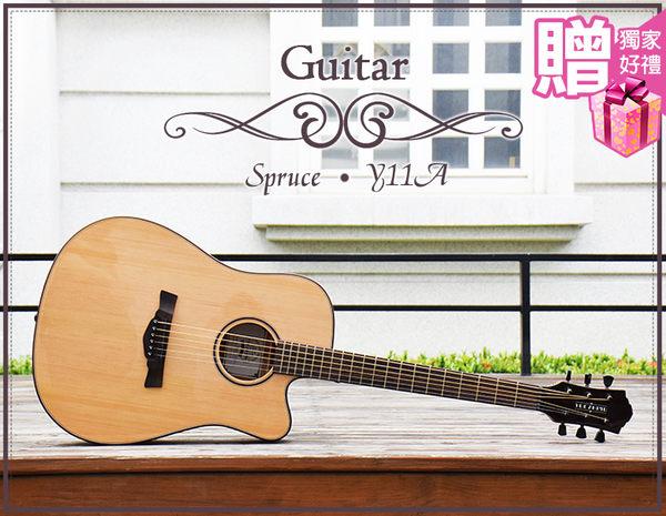 【小麥老師 樂器館】快速出貨 贈14►Y11A 41吋 高級雲杉 民謠吉他 吉他 木吉他 沙比利指板 吉他