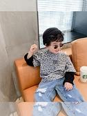 2021春裝新款男童洋氣假兩件長袖兒童豹紋T恤打底衫寶寶圓領上衣 幸福第一站