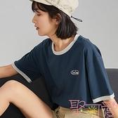 復古撞色女上衣短袖夏季學生t恤寬松韓版【聚可愛】