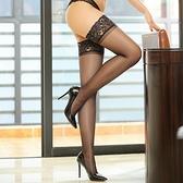 嫵媚情潮-性感硅膠防滑蕾絲花邊長筒絲襪 大腿襪-黑色