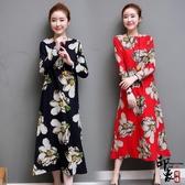 大尺碼洋裝實拍棉麻連身裙復古寬鬆圓領印花A字裙長裙