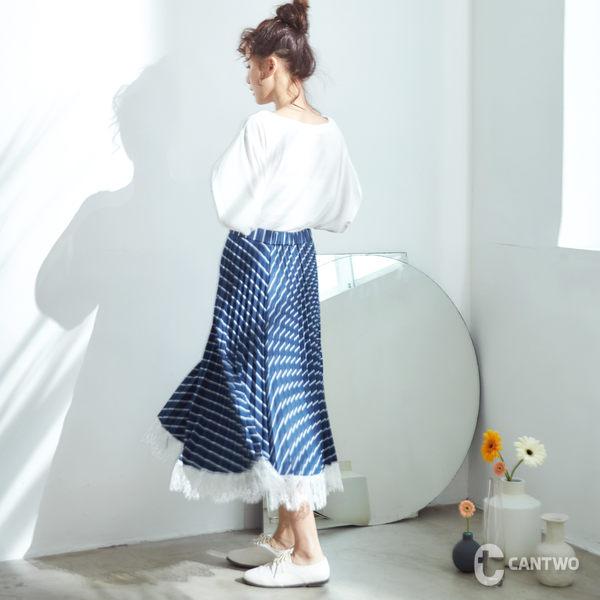 CANTWO拼接蕾絲細褶長裙-共兩色