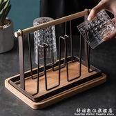 托盤玻璃水杯掛架 瀝水置物架杯架水杯架 創意家用收納杯子架倒掛     科炫數位