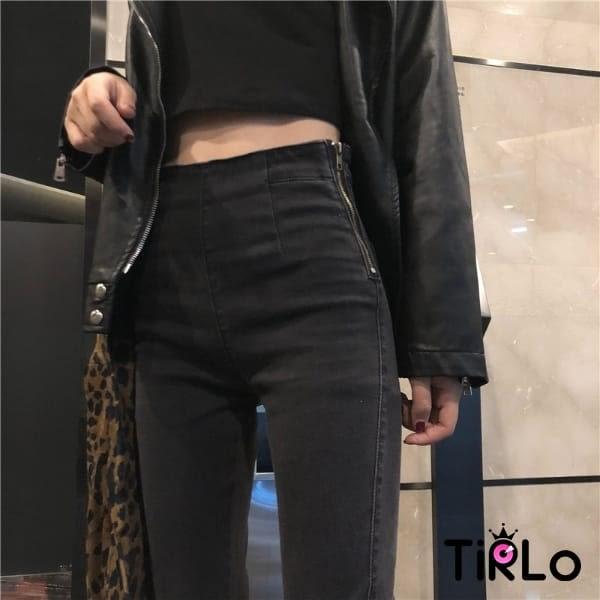 牛仔褲子-Tirlo-側拉鍊煙灰色小腳牛仔褲-一色/SML(現+追加預計5-7工作天出貨)