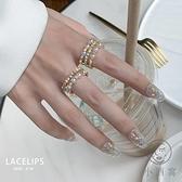 韓版指環女珍珠水鉆開口食指戒指【小酒窝服饰】
