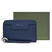 【南紡購物中心】LONGCHAMP LE PLIAGE NÉO系列防刮牛皮拉鍊零錢包(深藍)