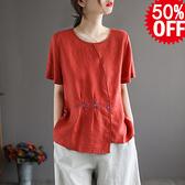 亞麻刺繡短袖T恤 薄款斜襟圓領套頭上衣/3色-夢想家-0511
