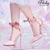 鞋子 繫踝綁帶側空尖頭高跟鞋-Ruby s 露比午茶