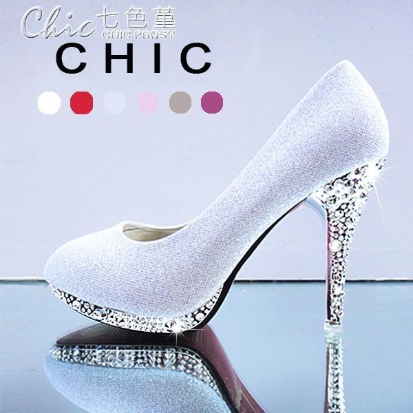 婚禮鞋 高跟鞋女學生百搭伴娘公主鞋成人細跟婚鞋單鞋「七色堇」