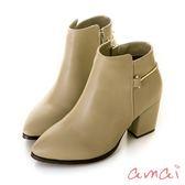 amai《Bella貝拉》歐美率性繞踝金屬高跟短靴 杏