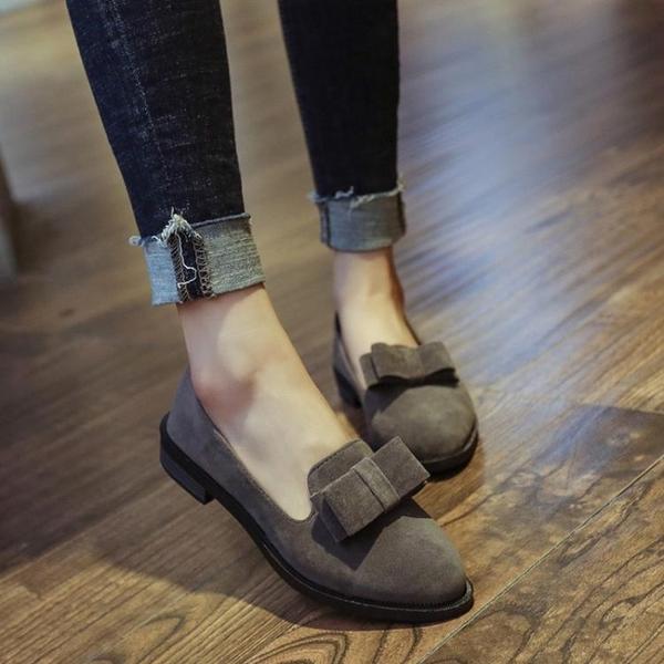 蝴蝶結尖頭黑色單鞋女平底平跟低跟工作瓢鞋淺口百搭  伊衫風尚