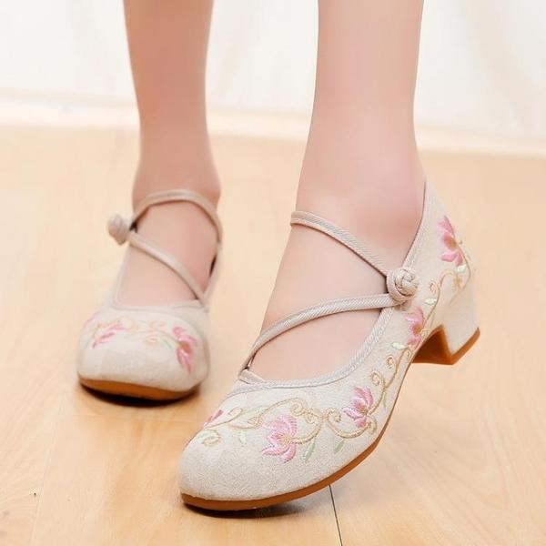 古裝鞋 老北京中跟古風漢服繡花布鞋復古高跟搭配旗袍鞋女民族風茶服鞋子 星河光年