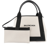 【BALENCIAGA】NAVY CABAS 帆布手提包/子母包(米白/黑色) S 339933 2HH3N 9260