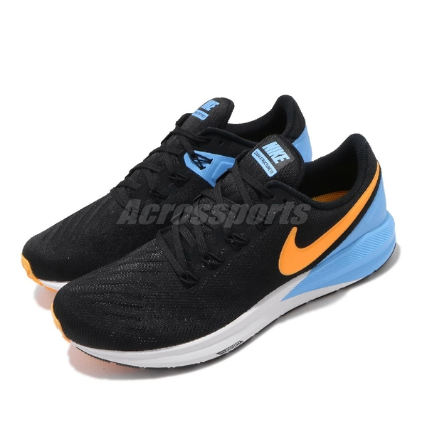 Nike 慢跑鞋 Air Zoom Structure 22 黑 白 橘 男鞋 氣墊避震 運動鞋 【PUMP306】 AA1636-011
