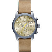 DIESEL Flare 美式狂潮計時腕錶/手錶-黃x卡其/40mm DZ5462